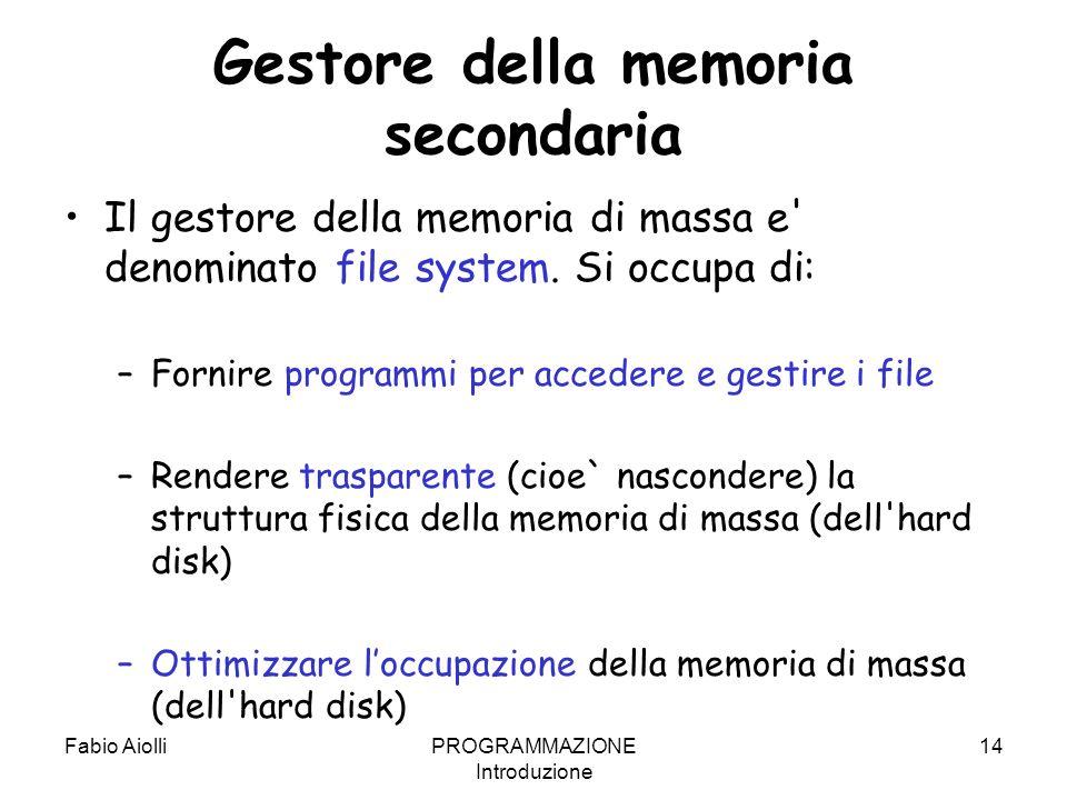 Fabio AiolliPROGRAMMAZIONE Introduzione 14 Gestore della memoria secondaria Il gestore della memoria di massa e' denominato file system. Si occupa di: