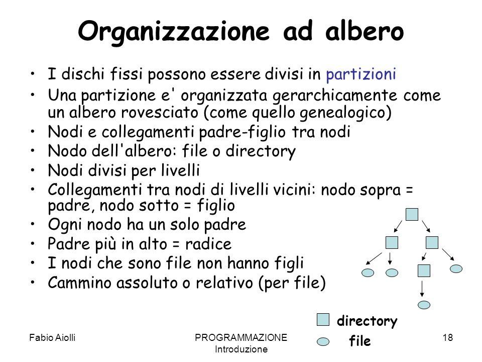 Fabio AiolliPROGRAMMAZIONE Introduzione 18 Organizzazione ad albero I dischi fissi possono essere divisi in partizioni Una partizione e' organizzata g
