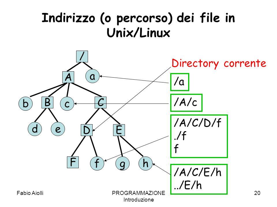 Fabio AiolliPROGRAMMAZIONE Introduzione 20 Indirizzo (o percorso) dei file in Unix/Linux A ED CB F de a bc hgf Directory corrente /A/c /a /A/C/D/f./f