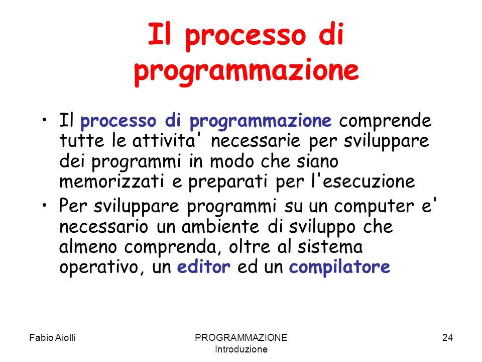 Fabio AiolliPROGRAMMAZIONE Introduzione 24 Il processo di programmazione Il processo di programmazione comprende tutte le attivita' necessarie per svi