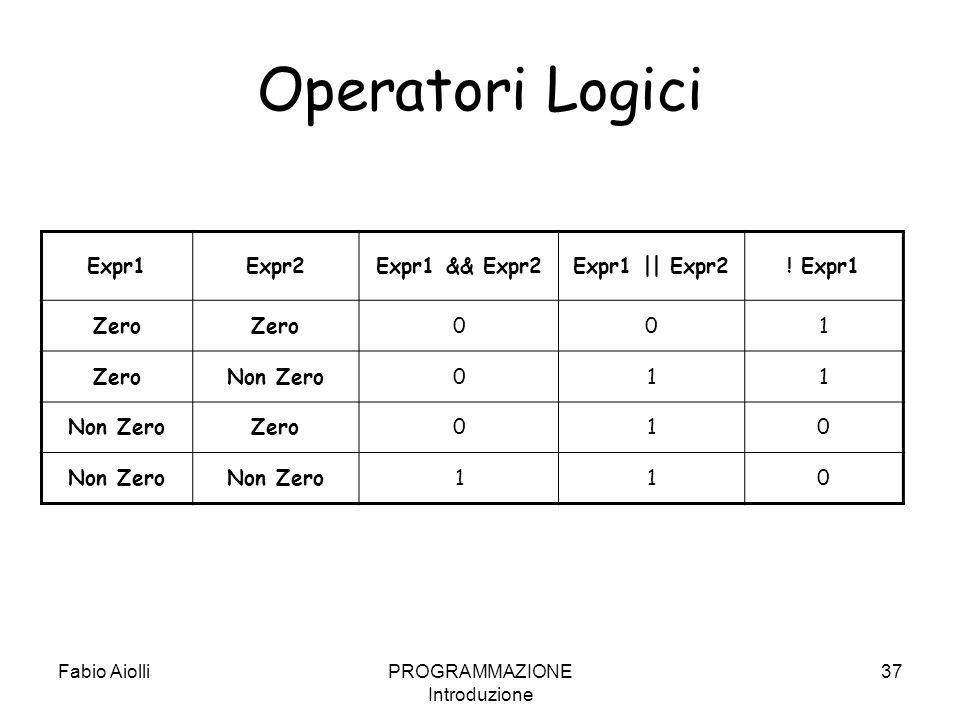 Fabio AiolliPROGRAMMAZIONE Introduzione 37 Operatori Logici Expr1Expr2Expr1 && Expr2Expr1    Expr2! Expr1 Zero 001 Non Zero011 Zero010 Non Zero 110