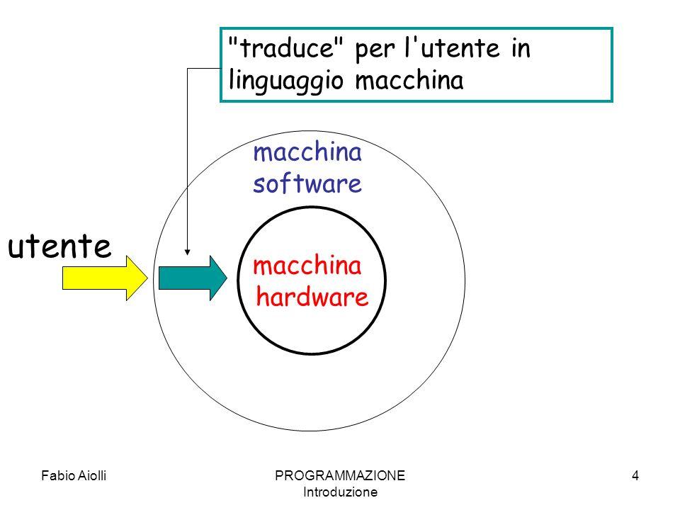 Fabio AiolliPROGRAMMAZIONE Introduzione 25 Editor e compilatori Un programma e un testo che consiste in una sequenza di istruzioni scritte in un particolare linguaggio di programmazione.