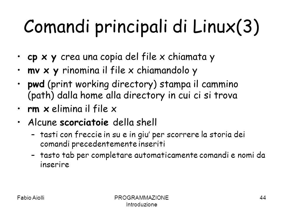 Comandi principali di Linux(3) cp x y crea una copia del file x chiamata y mv x y rinomina il file x chiamandolo y pwd (print working directory) stamp