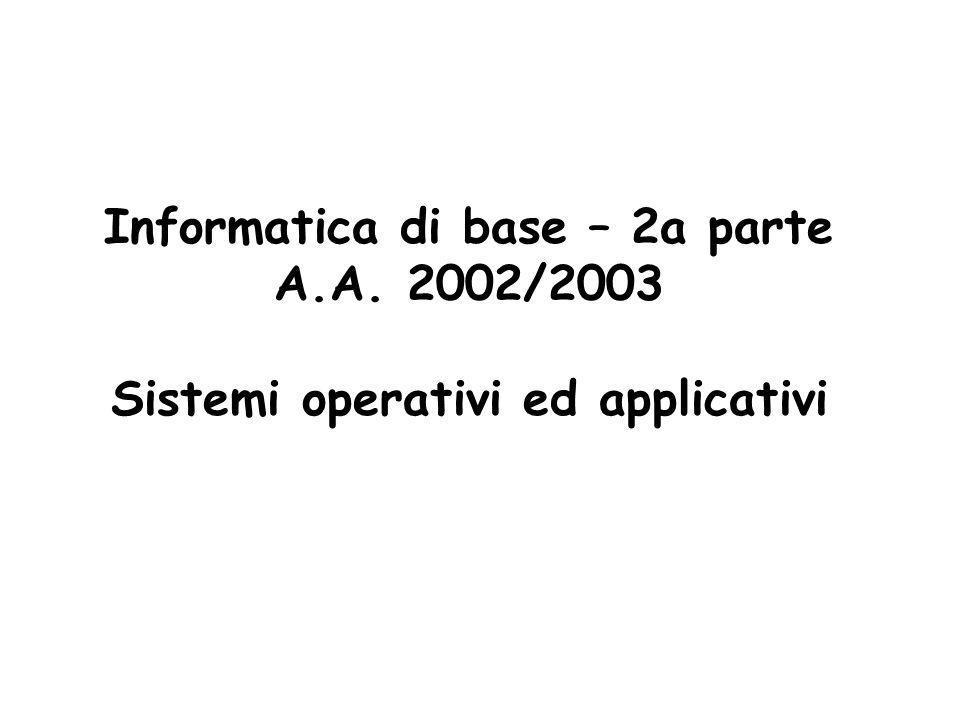 2 Sommario degli argomenti Sistemi operativi: DOS, Unix/Linux,Windows Word processors: Word Fogli elettronici: Excel Sistemi per la gestione di basi di dati: Access Reti: TCP/IP, Internet, ftp, telnet, posta elettronica WWW: http, Netscape, HTML, motori di ricerca