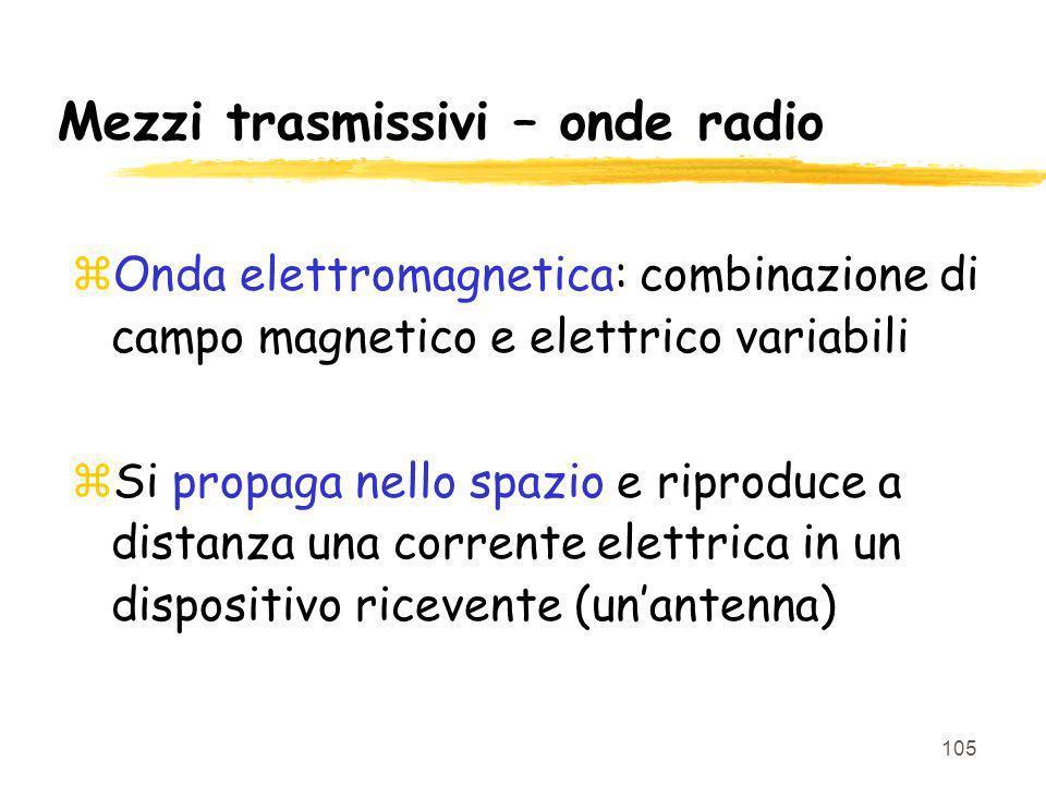 105 Mezzi trasmissivi – onde radio zOnda elettromagnetica: combinazione di campo magnetico e elettrico variabili zSi propaga nello spazio e riproduce a distanza una corrente elettrica in un dispositivo ricevente (unantenna)