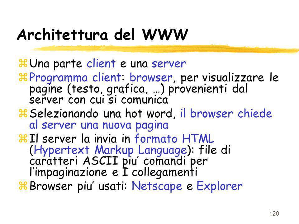 120 Architettura del WWW zUna parte client e una server zProgramma client: browser, per visualizzare le pagine (testo, grafica, …) provenienti dal ser