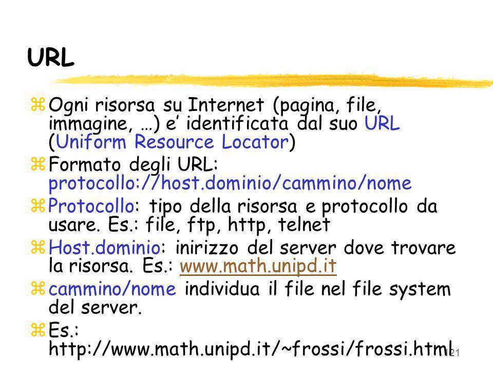121 URL zOgni risorsa su Internet (pagina, file, immagine, …) e identificata dal suo URL (Uniform Resource Locator) zFormato degli URL: protocollo://h