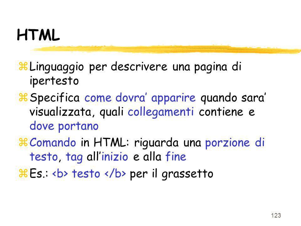 123 HTML zLinguaggio per descrivere una pagina di ipertesto zSpecifica come dovra apparire quando sara visualizzata, quali collegamenti contiene e dov