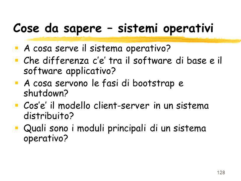 128 Cose da sapere – sistemi operativi A cosa serve il sistema operativo? Che differenza ce tra il software di base e il software applicativo? A cosa