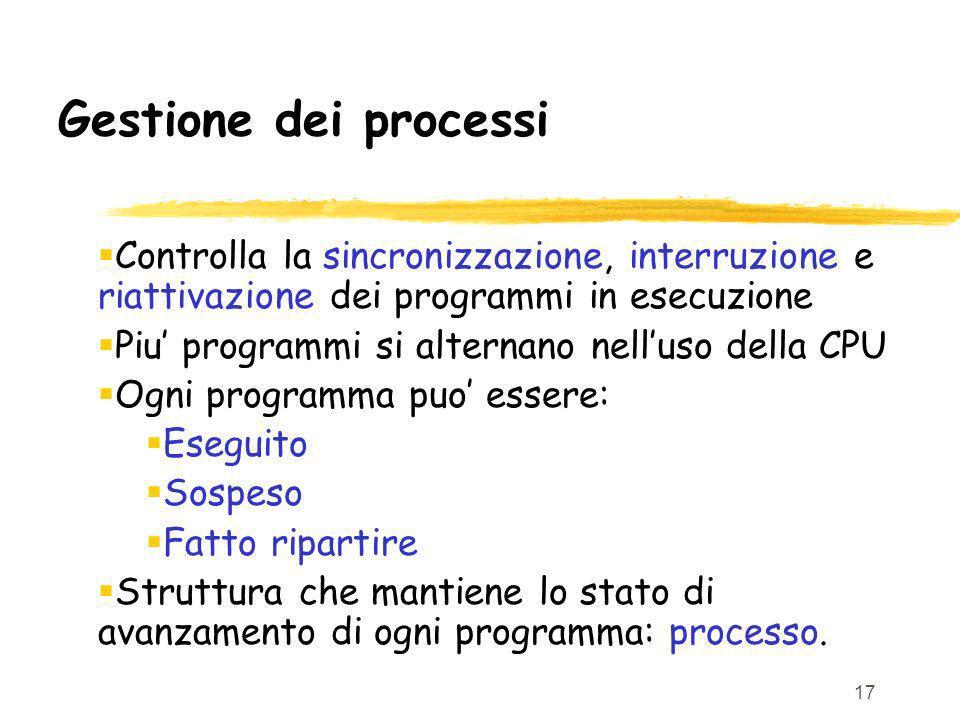 17 Gestione dei processi Controlla la sincronizzazione, interruzione e riattivazione dei programmi in esecuzione Piu programmi si alternano nelluso della CPU Ogni programma puo essere: Eseguito Sospeso Fatto ripartire Struttura che mantiene lo stato di avanzamento di ogni programma: processo.