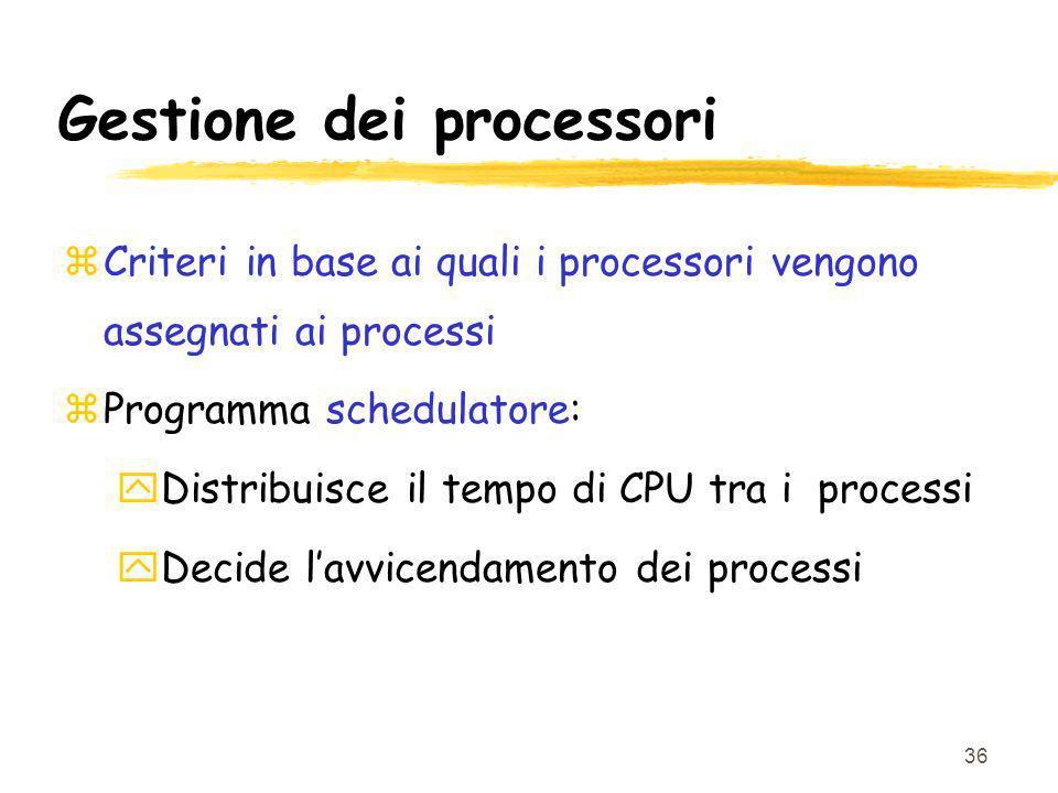 36 Gestione dei processori zCriteri in base ai quali i processori vengono assegnati ai processi zProgramma schedulatore: yDistribuisce il tempo di CPU tra i processi yDecide lavvicendamento dei processi
