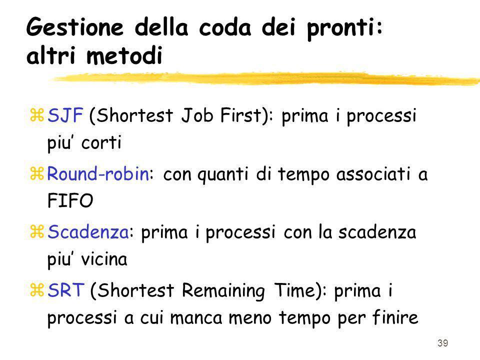 39 Gestione della coda dei pronti: altri metodi zSJF (Shortest Job First): prima i processi piu corti zRound-robin: con quanti di tempo associati a FIFO zScadenza: prima i processi con la scadenza piu vicina zSRT (Shortest Remaining Time): prima i processi a cui manca meno tempo per finire