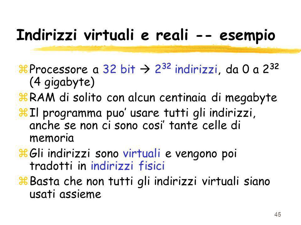 45 Indirizzi virtuali e reali -- esempio zProcessore a 32 bit 2 32 indirizzi, da 0 a 2 32 (4 gigabyte) zRAM di solito con alcun centinaia di megabyte zIl programma puo usare tutti gli indirizzi, anche se non ci sono cosi tante celle di memoria zGli indirizzi sono virtuali e vengono poi tradotti in indirizzi fisici zBasta che non tutti gli indirizzi virtuali siano usati assieme