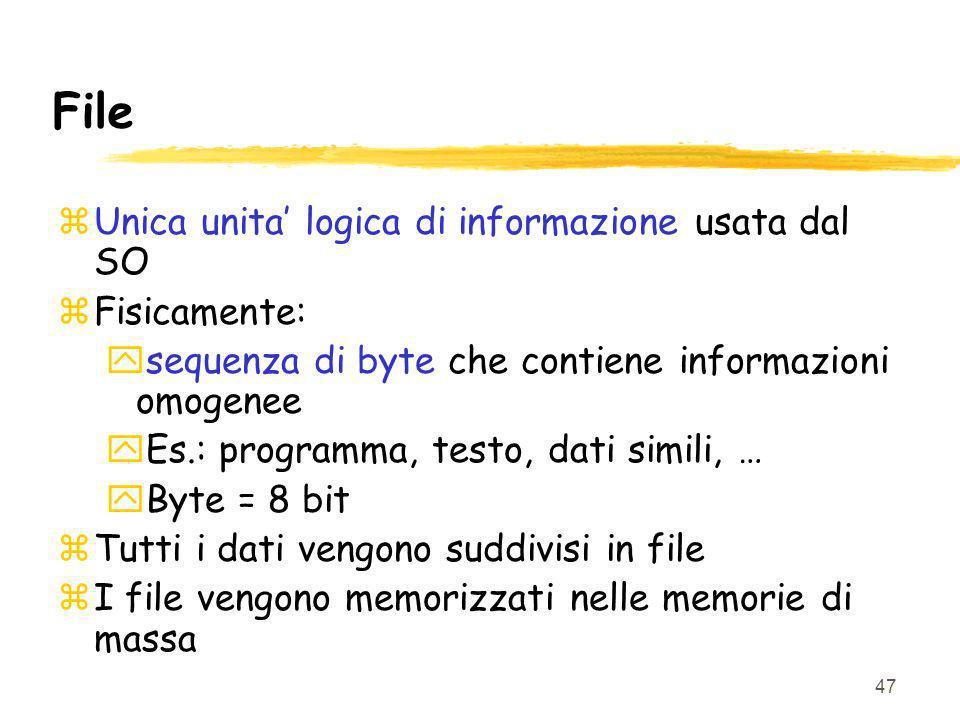 47 File zUnica unita logica di informazione usata dal SO zFisicamente: ysequenza di byte che contiene informazioni omogenee yEs.: programma, testo, dati simili, … yByte = 8 bit zTutti i dati vengono suddivisi in file zI file vengono memorizzati nelle memorie di massa