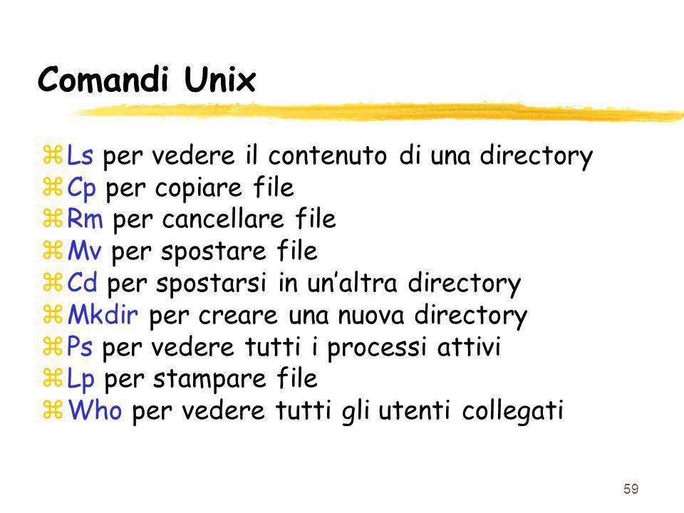 59 Comandi Unix zLs per vedere il contenuto di una directory zCp per copiare file zRm per cancellare file zMv per spostare file zCd per spostarsi in u