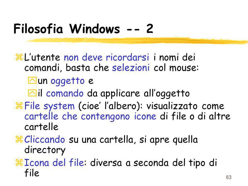 63 Filosofia Windows -- 2 zLutente non deve ricordarsi i nomi dei comandi, basta che selezioni col mouse: yun oggetto e yil comando da applicare allog