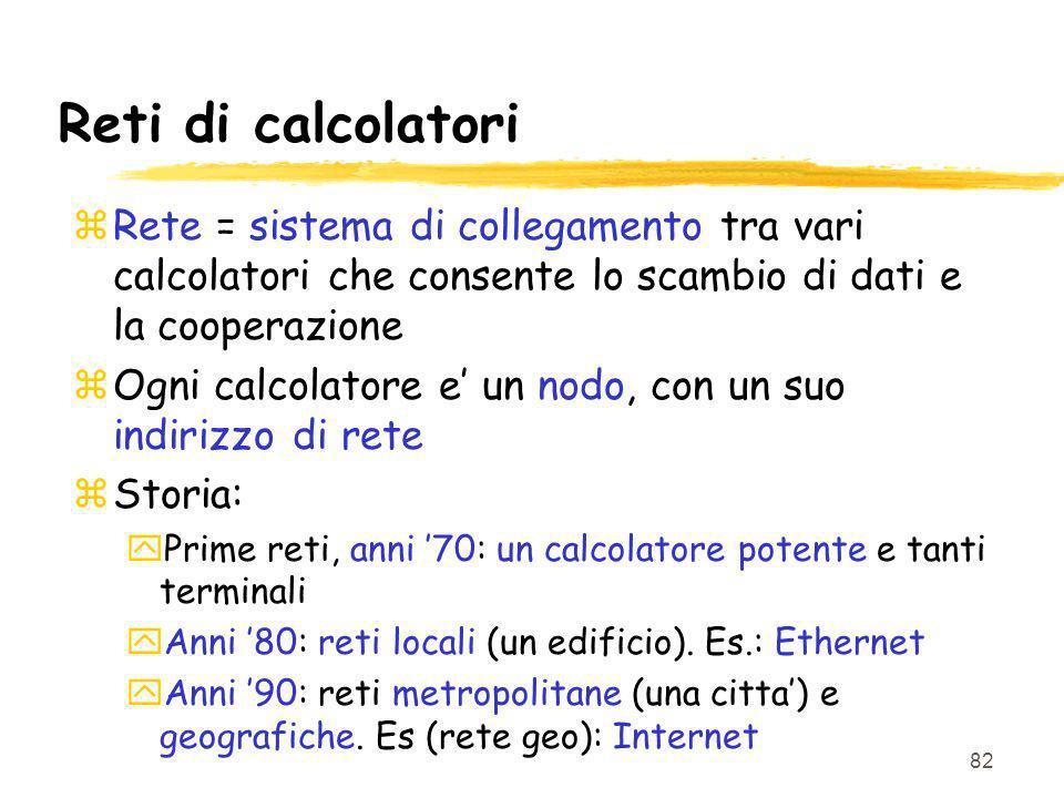 82 Reti di calcolatori zRete = sistema di collegamento tra vari calcolatori che consente lo scambio di dati e la cooperazione zOgni calcolatore e un n