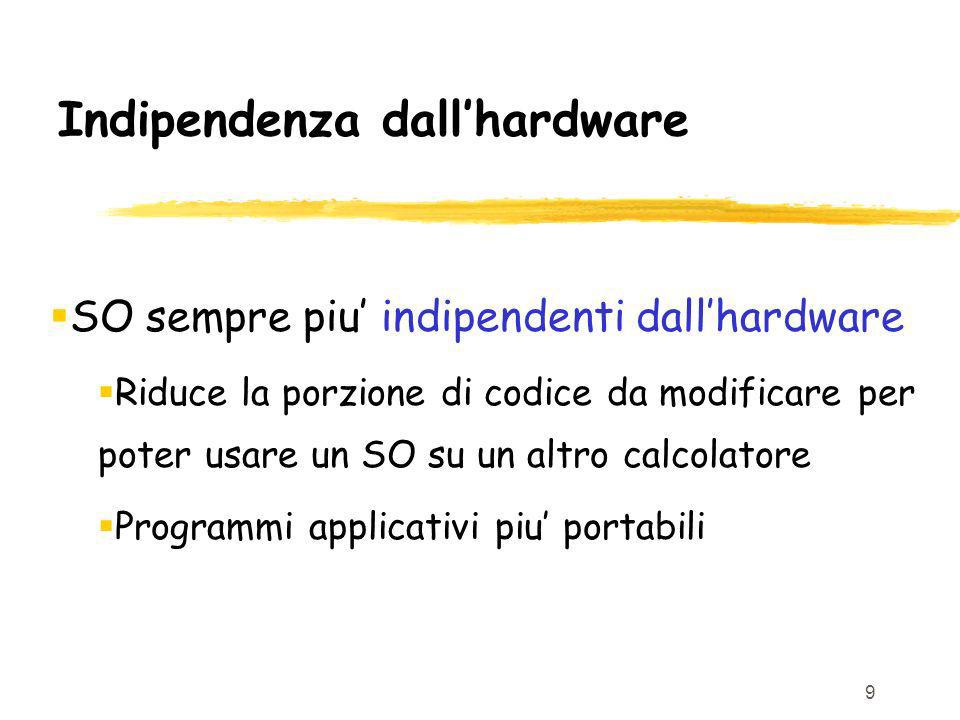 9 Indipendenza dallhardware SO sempre piu indipendenti dallhardware Riduce la porzione di codice da modificare per poter usare un SO su un altro calcolatore Programmi applicativi piu portabili