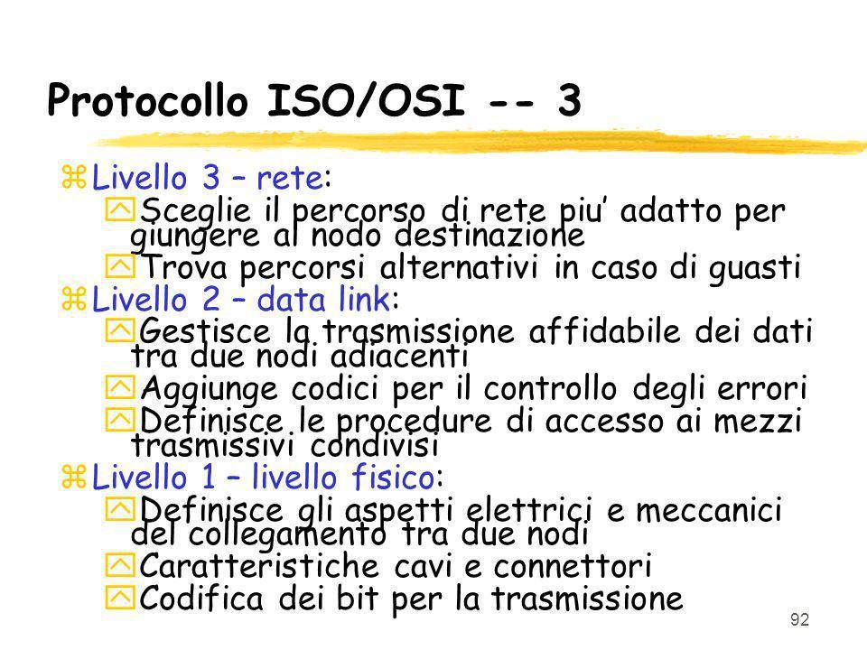 92 Protocollo ISO/OSI -- 3 zLivello 3 – rete: ySceglie il percorso di rete piu adatto per giungere al nodo destinazione yTrova percorsi alternativi in