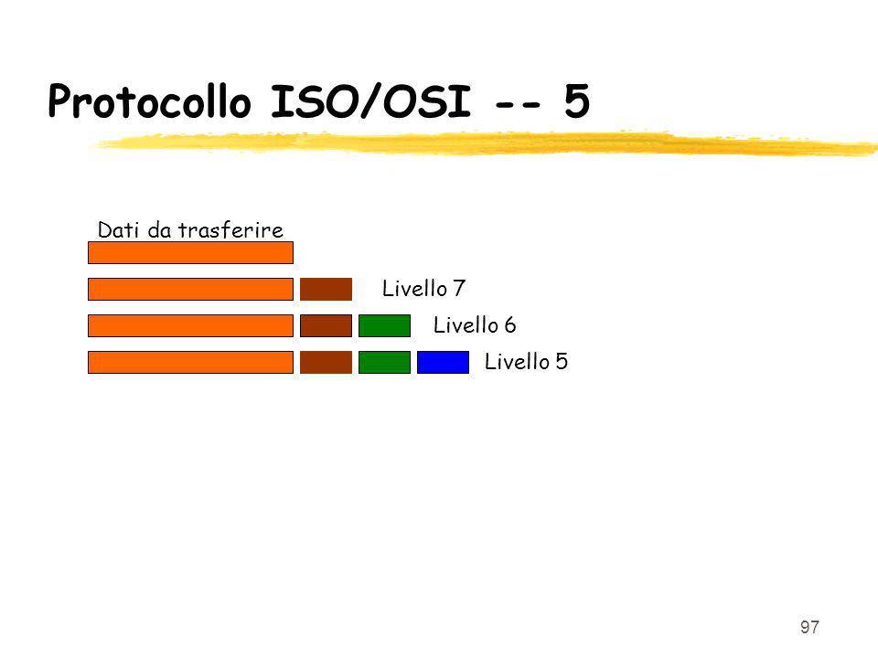 97 Protocollo ISO/OSI -- 5 Dati da trasferire Livello 7 Livello 6 Livello 5