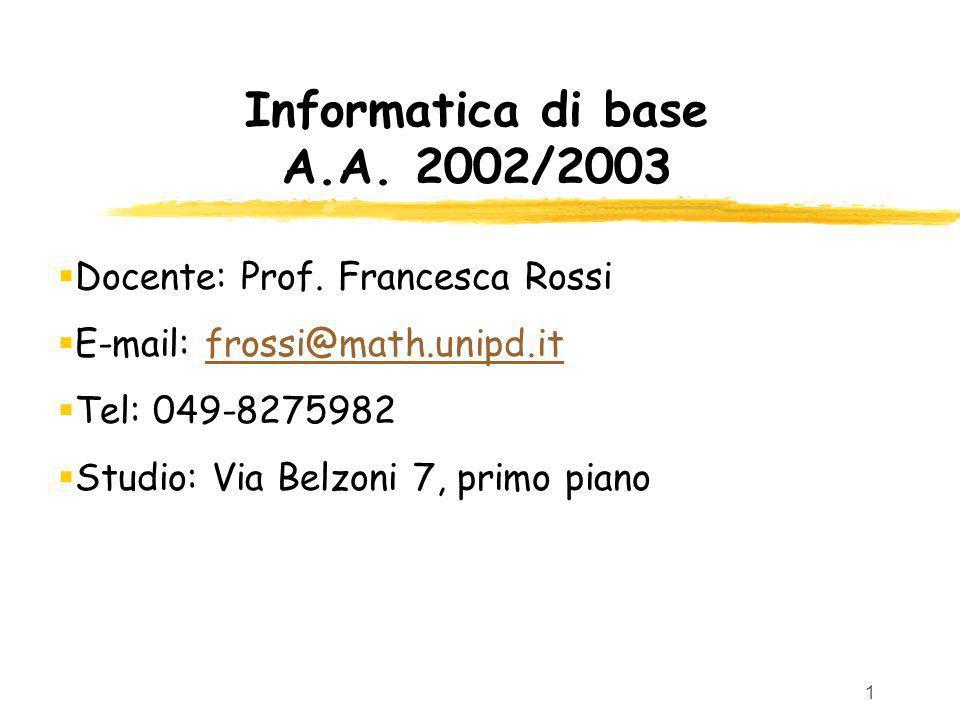 1 Informatica di base A.A. 2002/2003 Docente: Prof. Francesca Rossi E-mail: frossi@math.unipd.itfrossi@math.unipd.it Tel: 049-8275982 Studio: Via Belz