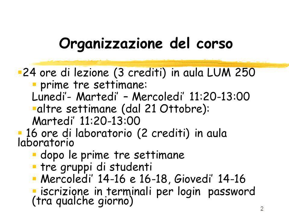 2 Organizzazione del corso 24 ore di lezione (3 crediti) in aula LUM 250 prime tre settimane: Lunedi- Martedi – Mercoledi 11:20-13:00 altre settimane