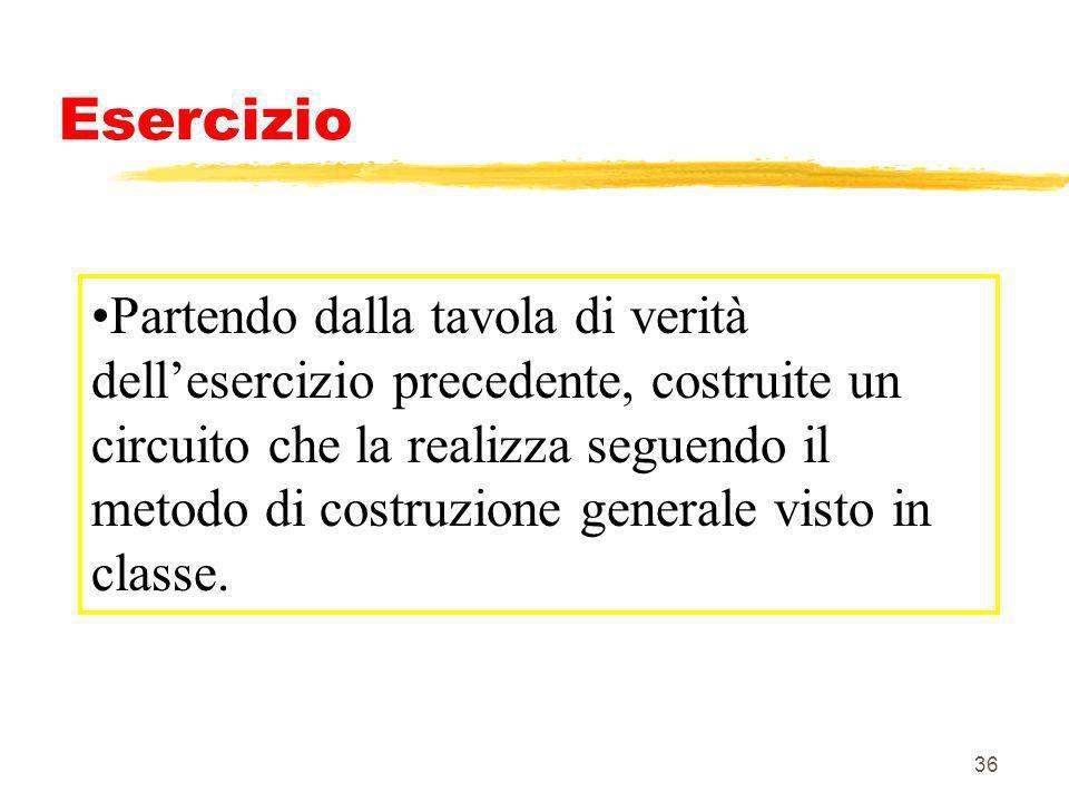 36 Esercizio Partendo dalla tavola di verità dellesercizio precedente, costruite un circuito che la realizza seguendo il metodo di costruzione general