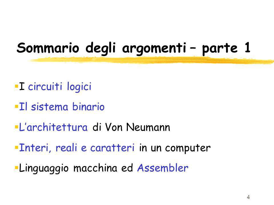 4 Sommario degli argomenti – parte 1 I circuiti logici Il sistema binario Larchitettura di Von Neumann Interi, reali e caratteri in un computer Lingua