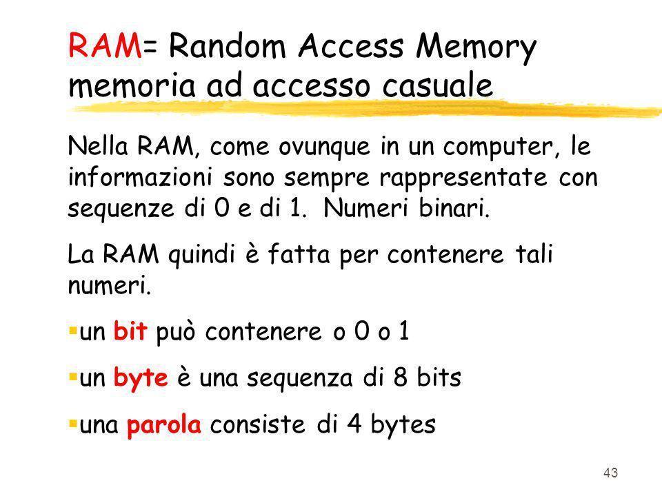 43 RAM= Random Access Memory memoria ad accesso casuale Nella RAM, come ovunque in un computer, le informazioni sono sempre rappresentate con sequenze
