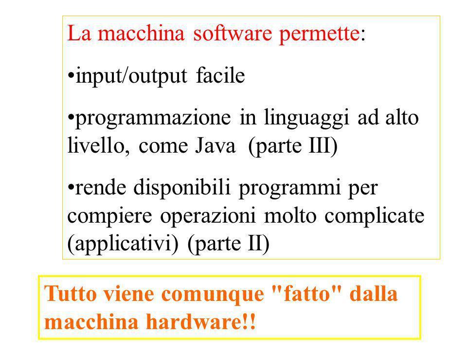 La macchina software permette: input/output facile programmazione in linguaggi ad alto livello, come Java (parte III) rende disponibili programmi per