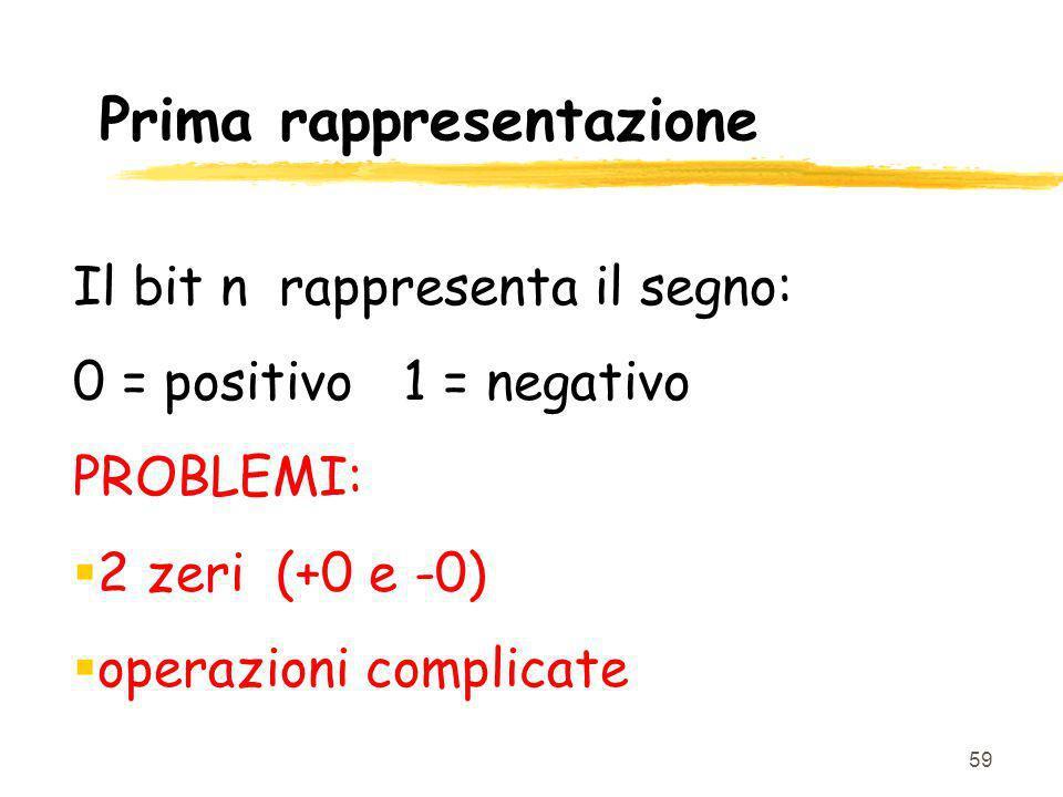 59 Prima rappresentazione Il bit n rappresenta il segno: 0 = positivo 1 = negativo PROBLEMI: 2 zeri (+0 e -0) operazioni complicate