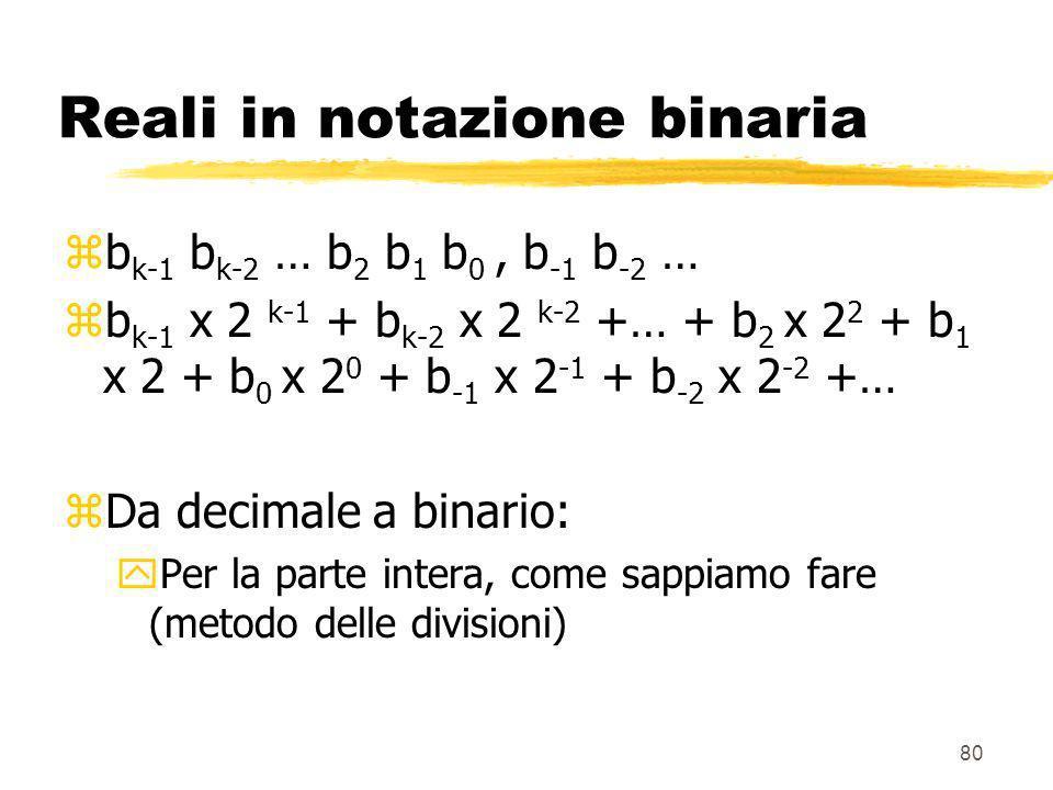 80 Reali in notazione binaria zb k-1 b k-2 … b 2 b 1 b 0, b -1 b -2 … zb k-1 x 2 k-1 + b k-2 x 2 k-2 +… + b 2 x 2 2 + b 1 x 2 + b 0 x 2 0 + b -1 x 2 -