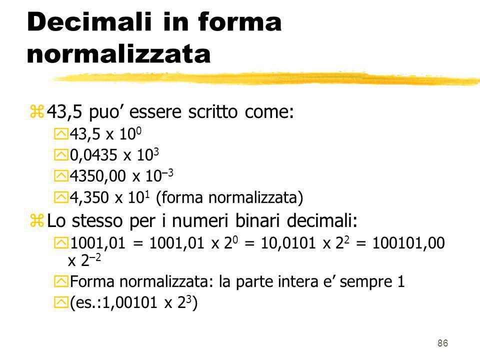 86 Decimali in forma normalizzata z43,5 puo essere scritto come: y43,5 x 10 0 y0,0435 x 10 3 y4350,00 x 10 –3 y4,350 x 10 1 (forma normalizzata) zLo s
