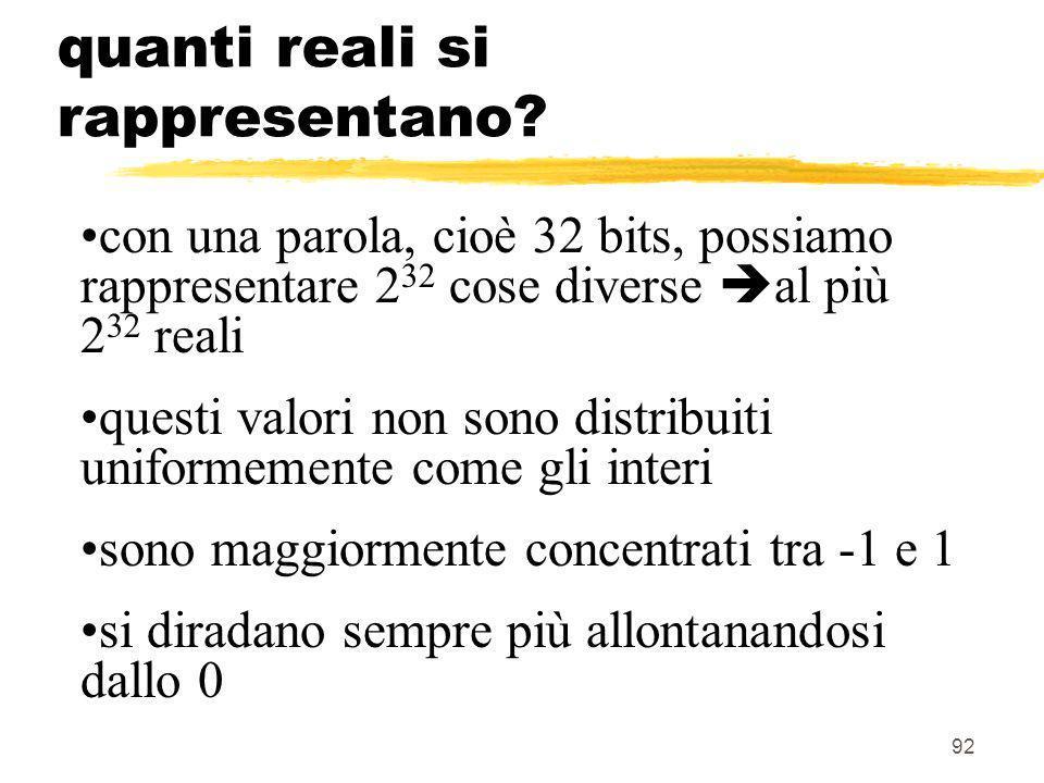 92 quanti reali si rappresentano? con una parola, cioè 32 bits, possiamo rappresentare 2 32 cose diverse al più 2 32 reali questi valori non sono dist