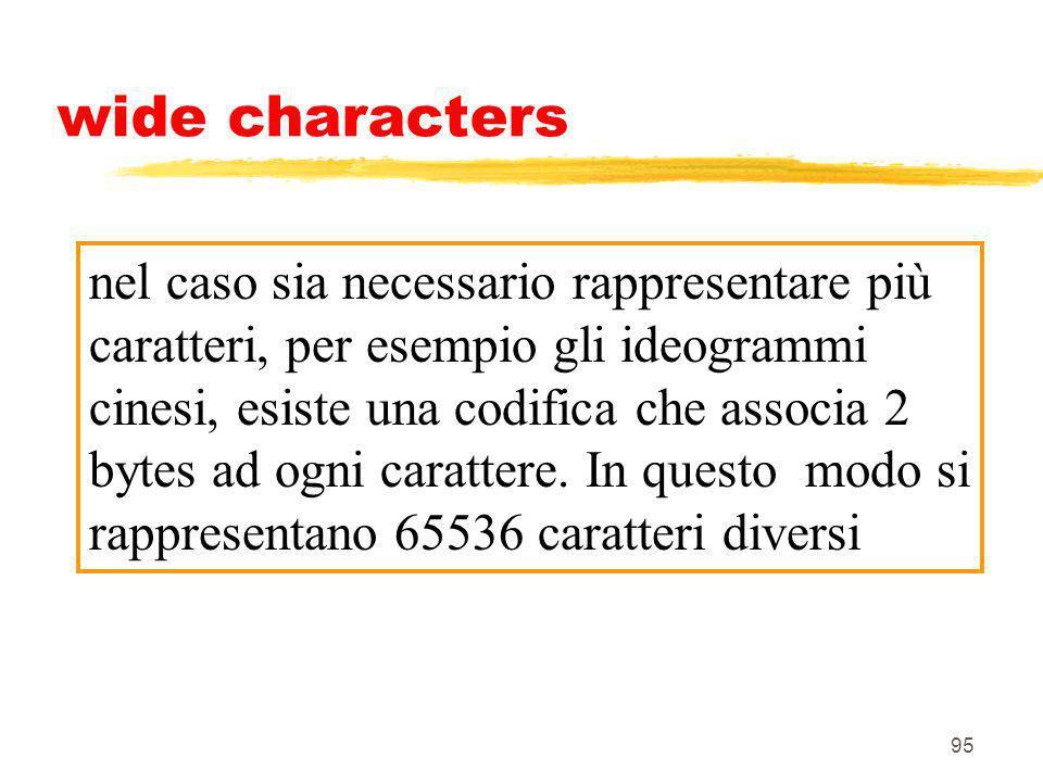 95 wide characters nel caso sia necessario rappresentare più caratteri, per esempio gli ideogrammi cinesi, esiste una codifica che associa 2 bytes ad