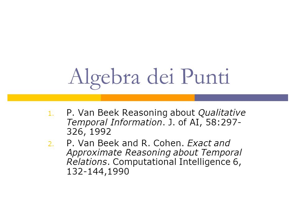 Algebra dei Punti 1. P. Van Beek Reasoning about Qualitative Temporal Information.