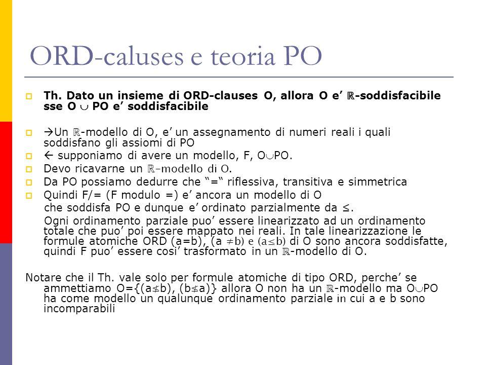 ORD-caluses e teoria PO Th. Dato un insieme di ORD-clauses O, allora O e -soddisfacibile sse O PO e soddisfacibile Un -modello di O, e un assegnamento