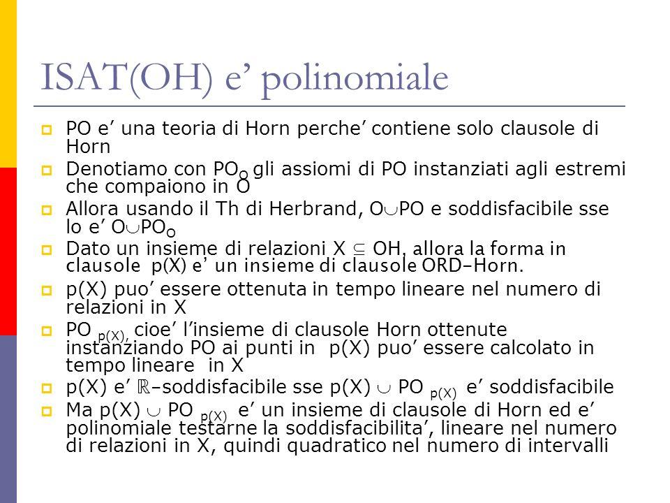 ISAT(OH) e polinomiale PO e una teoria di Horn perche contiene solo clausole di Horn Denotiamo con PO O gli assiomi di PO instanziati agli estremi che compaiono in O Allora usando il Th di Herbrand, OPO e soddisfacibile sse lo e OPO O Dato un insieme di relazioni X OH, allora la forma in clausole p(X) e un insieme di clausole ORD-Horn.