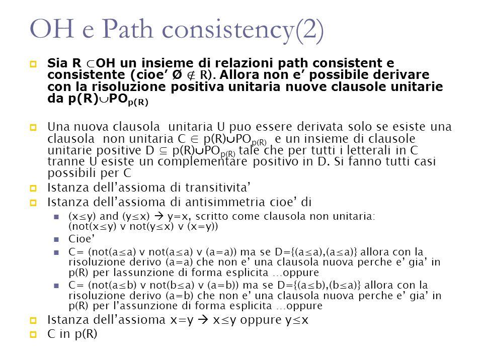 OH e Path consistency(2) Sia R OH un insieme di relazioni path consistent e consistente (cioe Ø R). Allora non e possibile derivare con la risoluzione