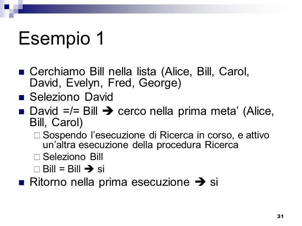 31 Esempio 1 Cerchiamo Bill nella lista (Alice, Bill, Carol, David, Evelyn, Fred, George) Seleziono David David =/= Bill cerco nella prima meta (Alice