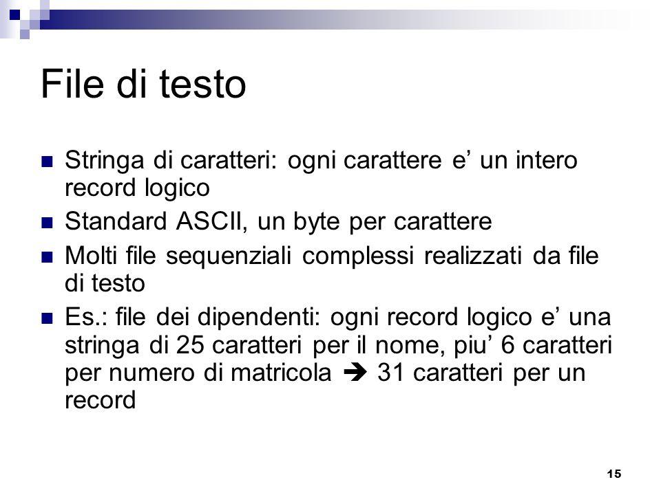 15 File di testo Stringa di caratteri: ogni carattere e un intero record logico Standard ASCII, un byte per carattere Molti file sequenziali complessi