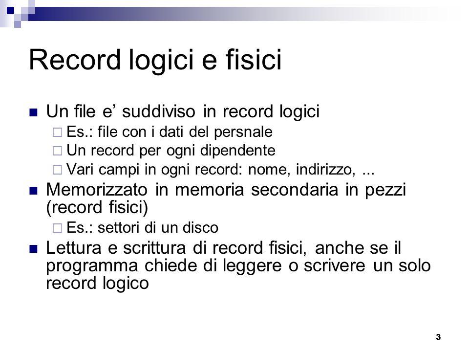 3 Record logici e fisici Un file e suddiviso in record logici Es.: file con i dati del persnale Un record per ogni dipendente Vari campi in ogni recor