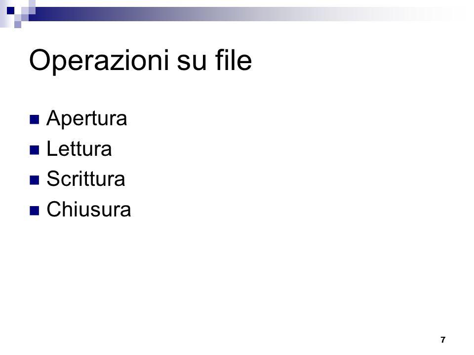 7 Operazioni su file Apertura Lettura Scrittura Chiusura
