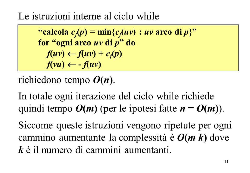 11 calcola c f (p) = min{c f (uv) : uv arco di p} for ogni arco uv di p do f(uv) f(uv) + c f (p) f(vu) - f(uv) Siccome queste istruzioni vengono ripet