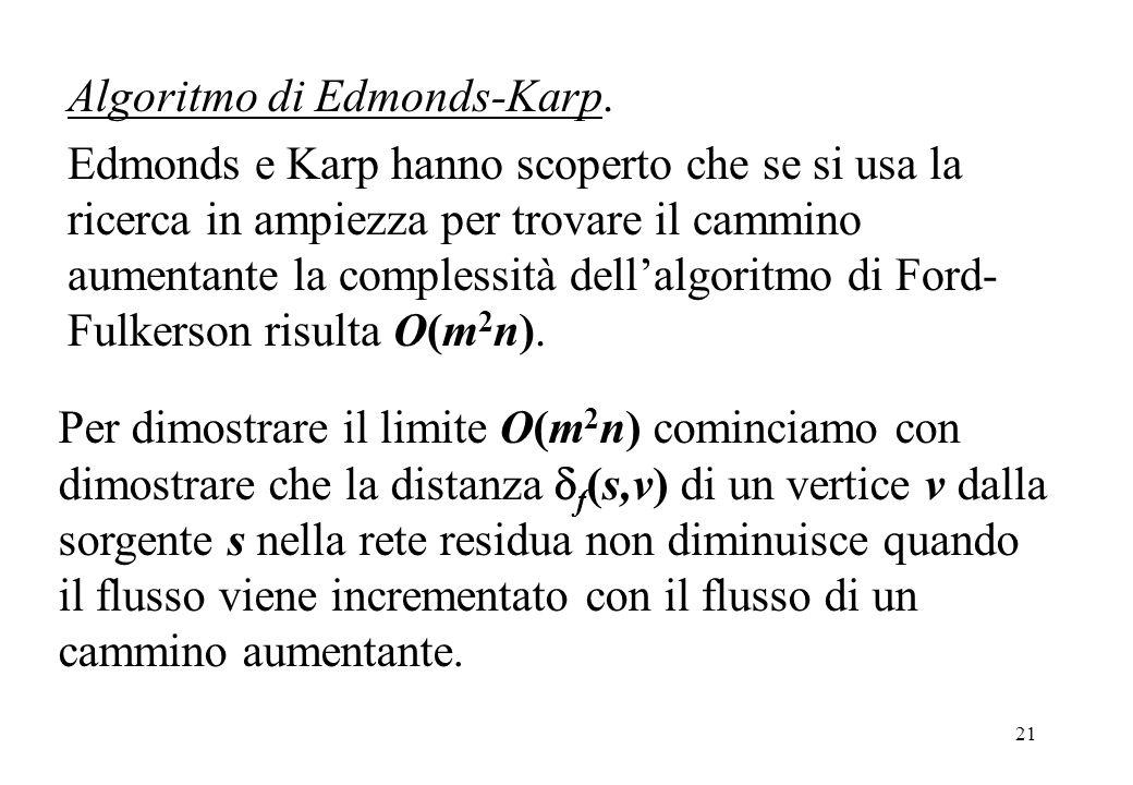 21 Algoritmo di Edmonds-Karp. Edmonds e Karp hanno scoperto che se si usa la ricerca in ampiezza per trovare il cammino aumentante la complessità dell