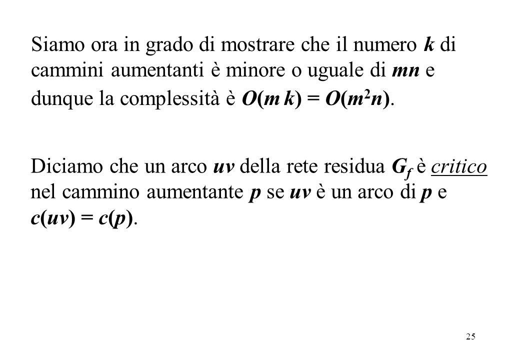 25 Siamo ora in grado di mostrare che il numero k di cammini aumentanti è minore o uguale di mn e dunque la complessità è O(m k) = O(m 2 n). Diciamo c
