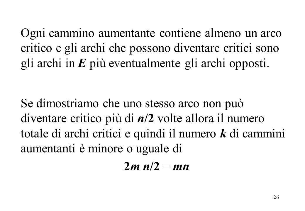 26 Ogni cammino aumentante contiene almeno un arco critico e gli archi che possono diventare critici sono gli archi in E più eventualmente gli archi o
