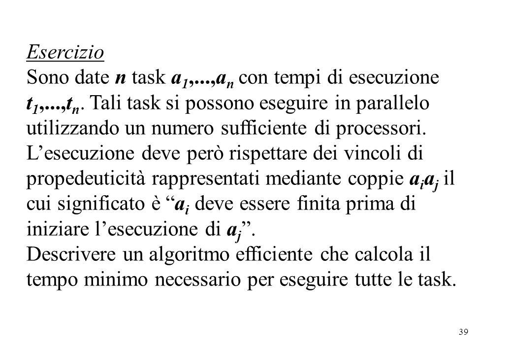 39 Esercizio Sono date n task a 1,...,a n con tempi di esecuzione t 1,...,t n. Tali task si possono eseguire in parallelo utilizzando un numero suffic