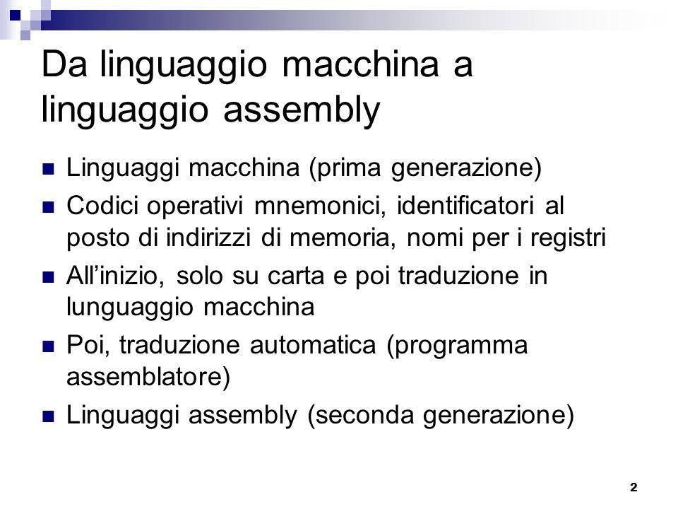 2 Da linguaggio macchina a linguaggio assembly Linguaggi macchina (prima generazione) Codici operativi mnemonici, identificatori al posto di indirizzi
