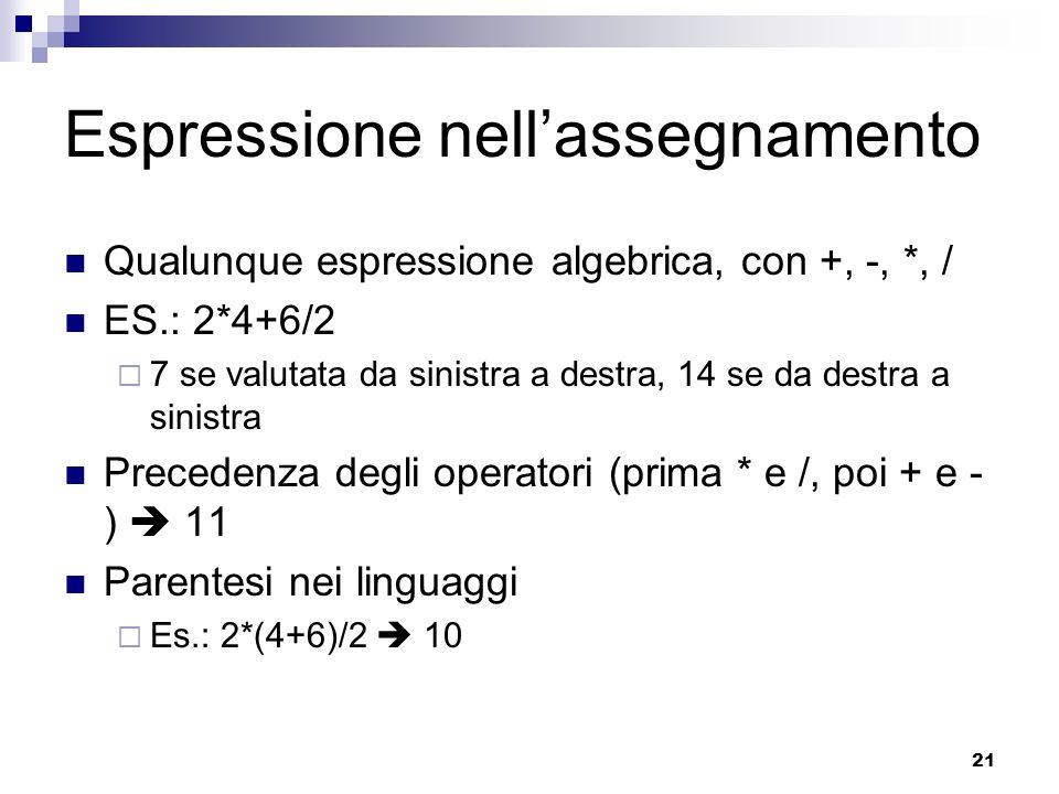 21 Espressione nellassegnamento Qualunque espressione algebrica, con +, -, *, / ES.: 2*4+6/2 7 se valutata da sinistra a destra, 14 se da destra a sin